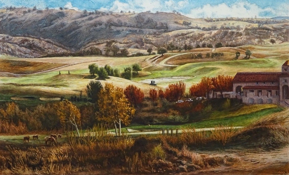 Fields with view on a golf course